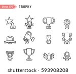 trophy icons on white...   Shutterstock .eps vector #593908208