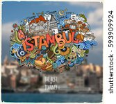 istanbul hand lettering and... | Shutterstock .eps vector #593909924