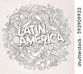 latin america line art festive... | Shutterstock .eps vector #593909933