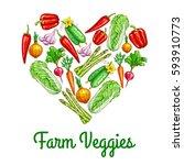 heart of vegetables poster.... | Shutterstock .eps vector #593910773