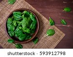 Spinach Leaves In Bowl. Raw...