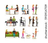 vector set of people young and... | Shutterstock .eps vector #593914709