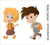 kid walking and talking.back to ...   Shutterstock .eps vector #593917856