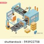 automated belt conveyor...   Shutterstock .eps vector #593922758