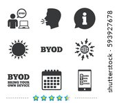 byod icons. human with notebook ... | Shutterstock .eps vector #593927678
