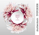 dahlia flower vector rosette... | Shutterstock .eps vector #593928308