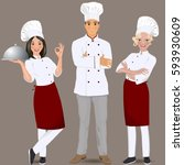 young professional chefs. | Shutterstock .eps vector #593930609