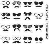 set of black hipster mustache... | Shutterstock . vector #593935460