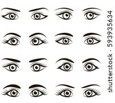 set of black icons of eyes and... | Shutterstock . vector #593935634