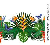 tropical seamless border with... | Shutterstock .eps vector #593943770