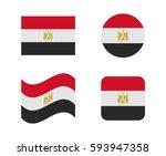 set 4 flags of egypt | Shutterstock .eps vector #593947358