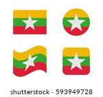 set 4 flags of burma
