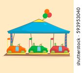 amusement park and playground... | Shutterstock .eps vector #593953040