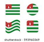 set 4 flags of abkhazia | Shutterstock .eps vector #593960369