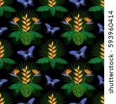 tropical seamless pattern with... | Shutterstock .eps vector #593960414