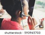 black businesswoman as a... | Shutterstock . vector #593965703