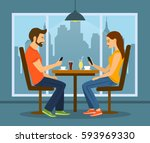 young man and woman on a date...   Shutterstock .eps vector #593969330