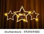 winner. retro light sign. three ... | Shutterstock .eps vector #593969480
