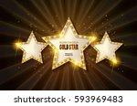 retro light sign. three gold... | Shutterstock .eps vector #593969483