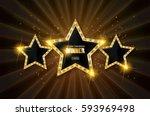 winner. retro light sign. three ... | Shutterstock .eps vector #593969498