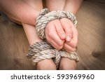 kidnapped woman tied with rope  ... | Shutterstock . vector #593969960