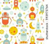 vector seamless robots pattern | Shutterstock .eps vector #593973764