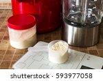 sport nutrition  supplements ... | Shutterstock . vector #593977058