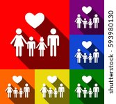 family symbol with heart.... | Shutterstock .eps vector #593980130