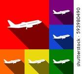 flying plane sign. side view.... | Shutterstock .eps vector #593980490