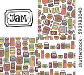 set of jam seamless patterns....   Shutterstock .eps vector #593983040