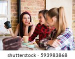 closeup of three young happy... | Shutterstock . vector #593983868