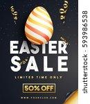 easter sale banner design with... | Shutterstock .eps vector #593986538