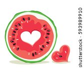 funny love watermelon  ... | Shutterstock .eps vector #593989910