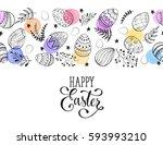 easter eggs composition... | Shutterstock .eps vector #593993210