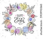 easter wreath with hand drawn... | Shutterstock .eps vector #593993360