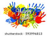 happy holi on a background of... | Shutterstock .eps vector #593996813
