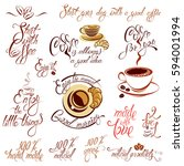 set of coffee cups icons ... | Shutterstock .eps vector #594001994