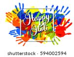 happy holi on a background of... | Shutterstock .eps vector #594002594