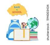 back to school concept.  open... | Shutterstock .eps vector #594003434
