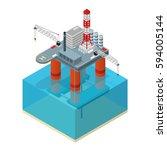 oil industry platform isometric ... | Shutterstock .eps vector #594005144