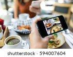 top view of people using... | Shutterstock . vector #594007604