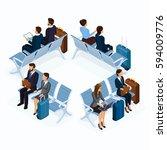 trendy people isometric vector... | Shutterstock .eps vector #594009776