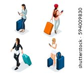 trendy people isometric vector... | Shutterstock .eps vector #594009830
