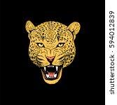 leopard face tattoo  vector... | Shutterstock .eps vector #594012839