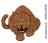 leopard face tattoo  vector... | Shutterstock .eps vector #594012950
