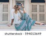 fashion girl wearing bohemian... | Shutterstock . vector #594013649