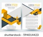abstract vector modern flyers... | Shutterstock .eps vector #594014423
