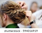 young woman bride getting her... | Shutterstock . vector #594016919