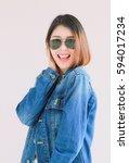 closeup asian woman casual... | Shutterstock . vector #594017234
