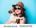 beautiful young woman with her... | Shutterstock . vector #594019796